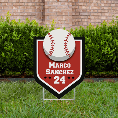 Baseball Yard Sign Design 3 Red & Black