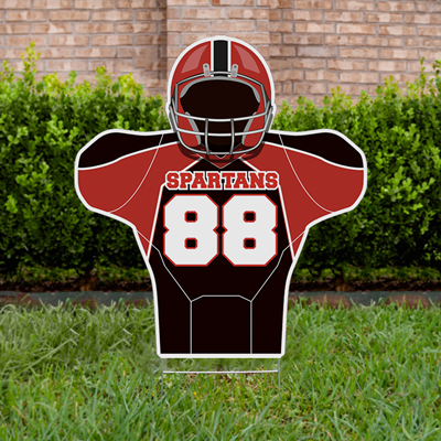 Football Yard Sign Design 4 - Red & Black