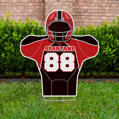 Football Yard Sign Design 4 Red & Black