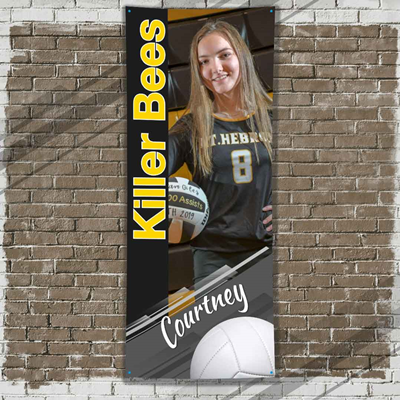 Volleyball Player Banner Black