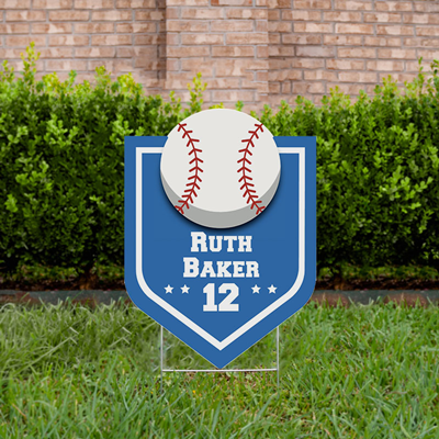 Baseball Yard Sign Design 3 Light Blue
